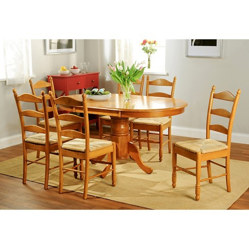 Farmhouse Ladder Back Dining Table Set Wood Oak 7 Piece Tms Target