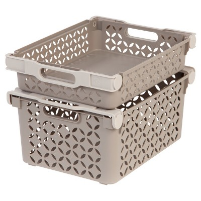 IRIS Medium Decorative Plastic Storage Basket Combo