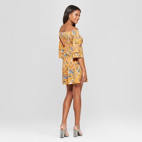 692c8d0ee2b Women's Floral Print Long Sleeve Smocked Top Off The Shoulder Knit Dress -  Xhilaration™ Mustard Seed M : Target