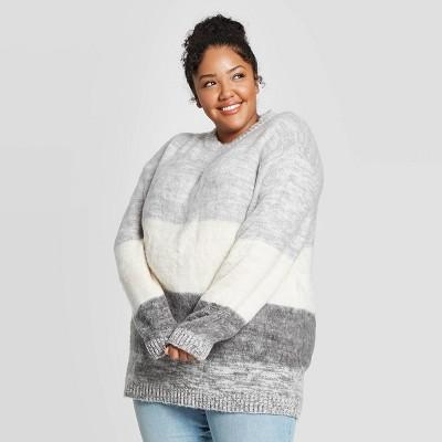 Women's Plus Size Brush Striped Crewneck Tunic Sweater - Universal Thread™ Gray 3X