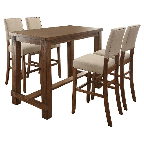 Sun Pine Pc Rustic Bar Table Set Natural Tone Target - Discount pub table and chairs