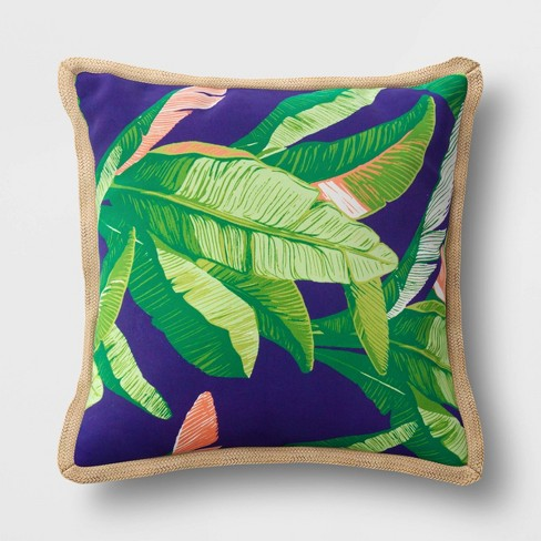 Decorative Throw Pillow DuraSeason Fabric™ Banana Leaf - Threshold™ - image 1 of 3