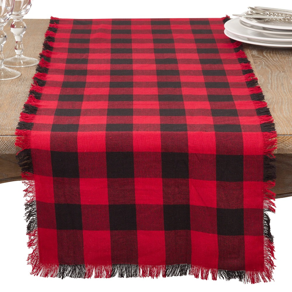 Red Plaid Table Runner Saro Lifestyle