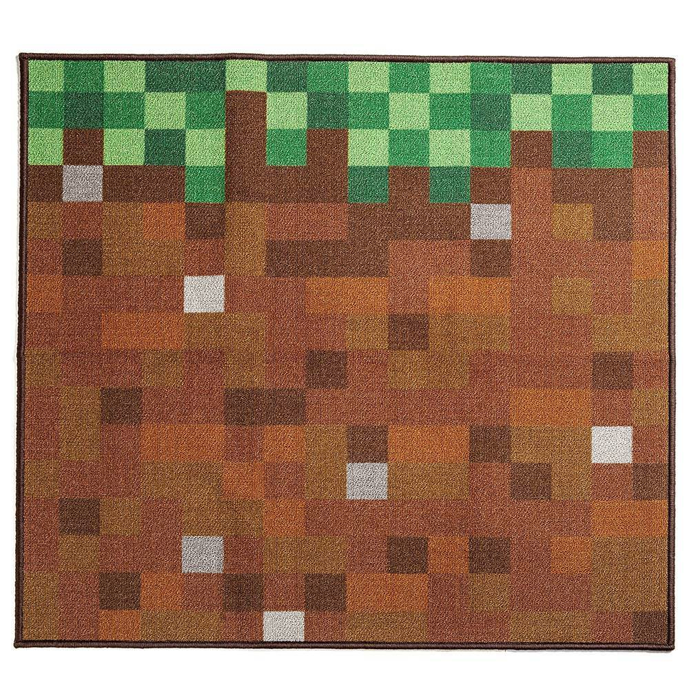 "Image of ""Minecraft 39""""x39"""" Glass Blocks Rug Green"""