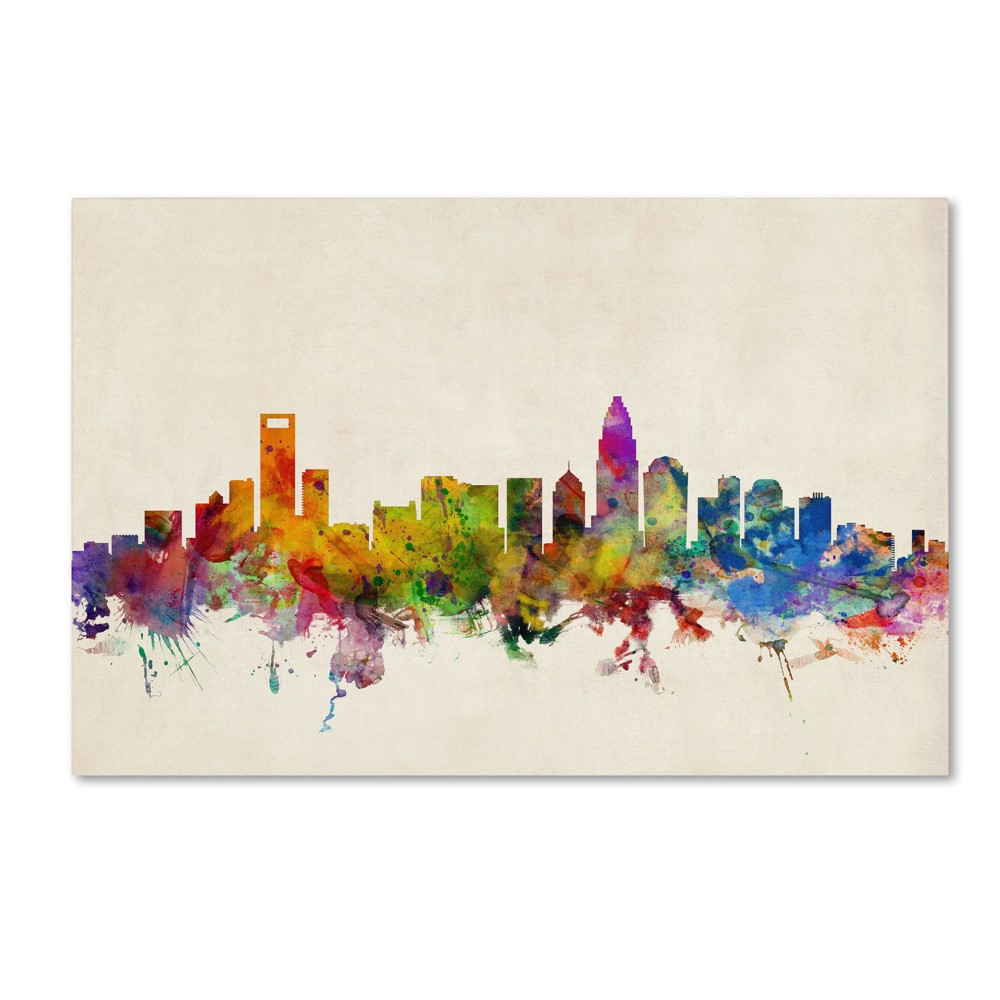 'Charlotte Watercolor Skyline' by Michael Tompsett Ready to Hang Canvas Wall Art (30
