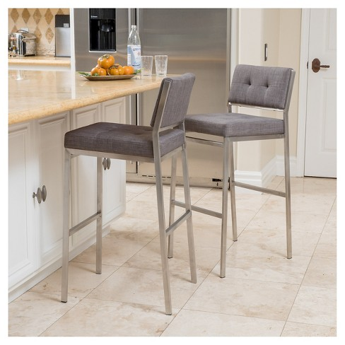 Qyto 30 Fabric Barstool Light Gray Set Of 2 Christopher Knight Home Target