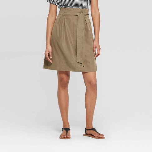Women's High-Rise Paperbag Mini Skirt - A New Day™ Olive 8 - image 1 of 3