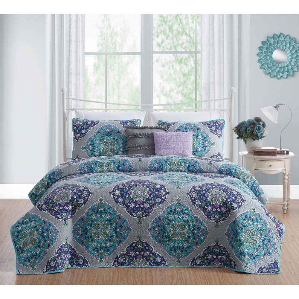 Image of 5pc Queen Chrissa Quilt Set Blue/Orchid - Avondale Manor