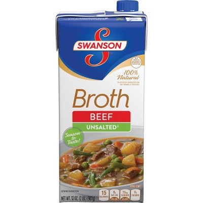 Swanson 100% Natural Unsalted Beef Broth 32oz