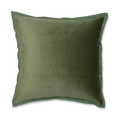 Pillow Perfect 18 x18  Velvet Flange Throw Pillow Green