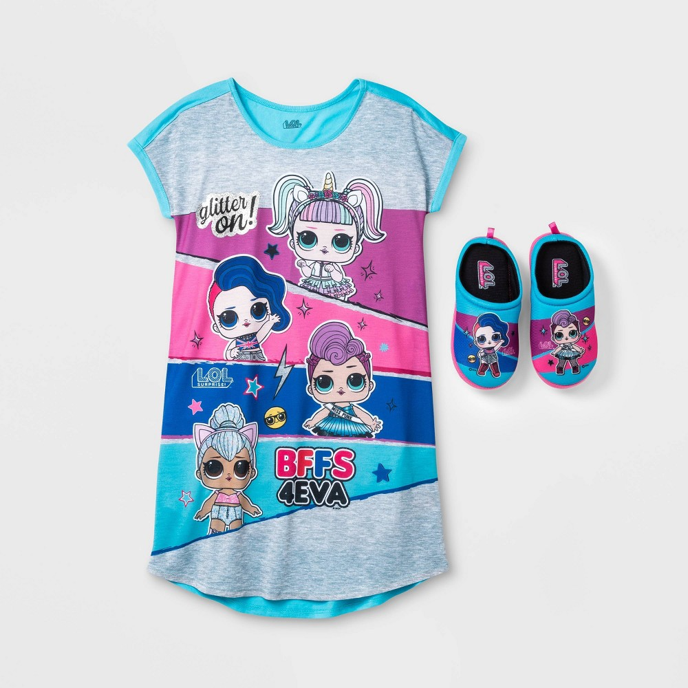 Image of Girls' L.O.L. Surprise! Gown With Slippers Pajama Set - Turquoise L, Girl's, Size: Large