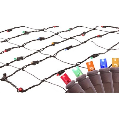 Northlight 150ct Wide Angle LED Trunk Wrap Net Lights Multi-Color - 2' x 8' Brown Wire