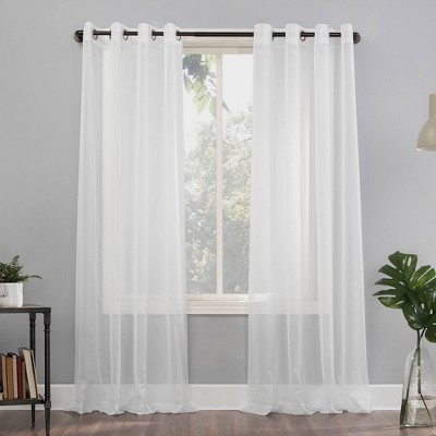 """84""""x59"""" Emily Sheer Voile Grommet Top Curtain Panel White - No. 918"""