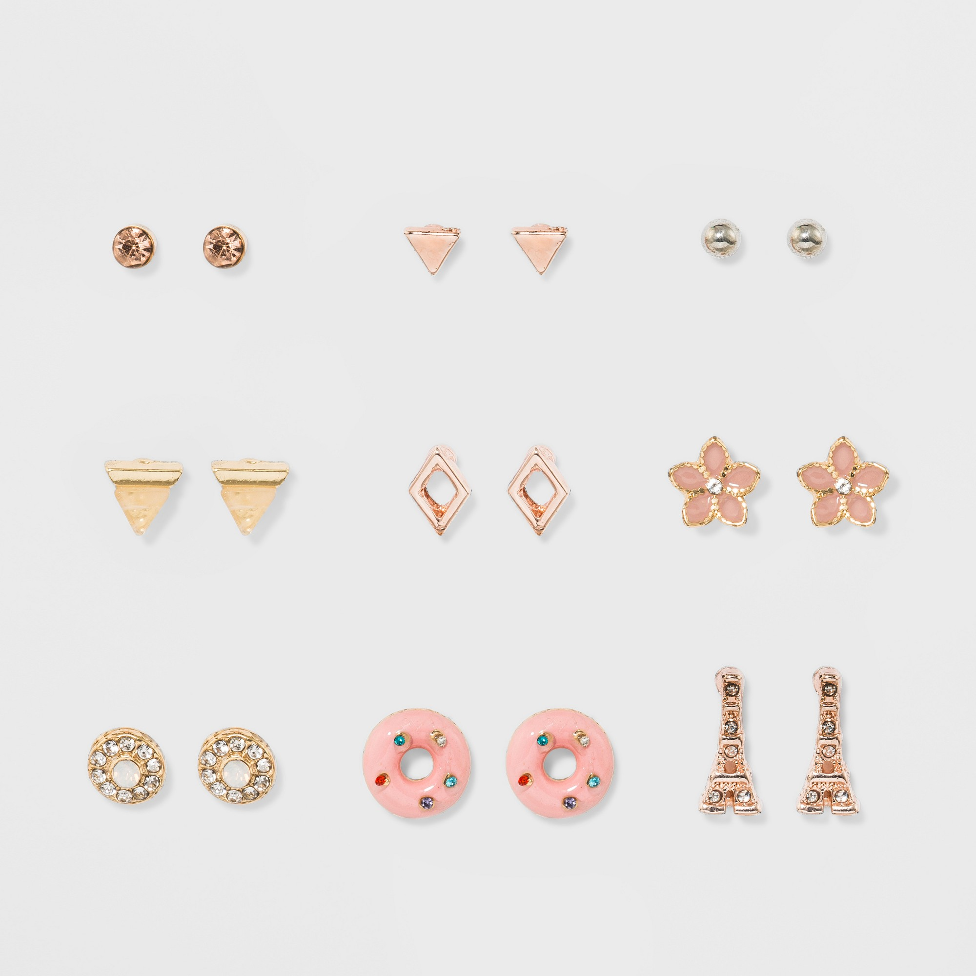 Women's 9pk Earring Set with Flower Eiffel Tower, Multi-Colored