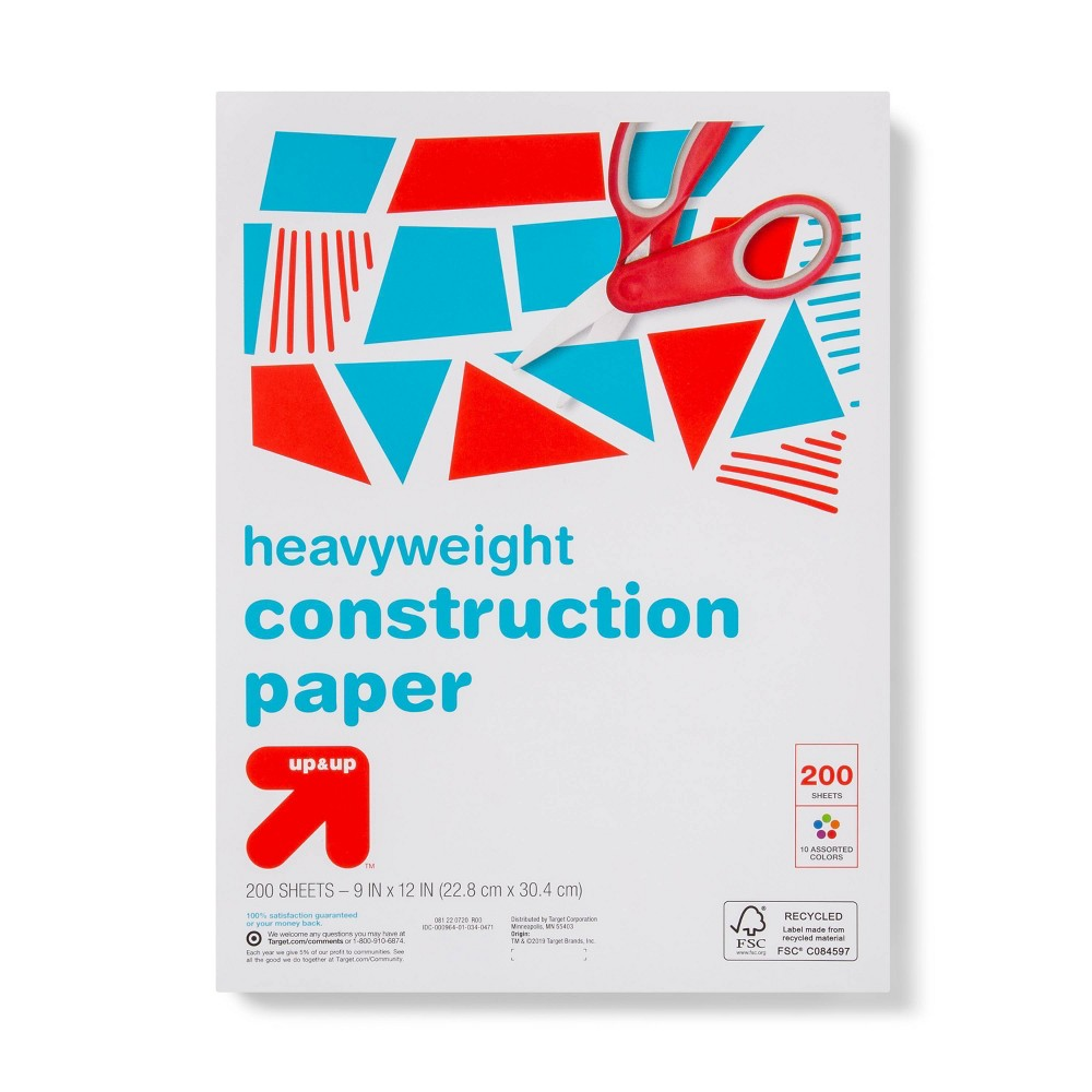 Image of 200pk Heavyweight Construction Paper 10 Colors - Up&Up