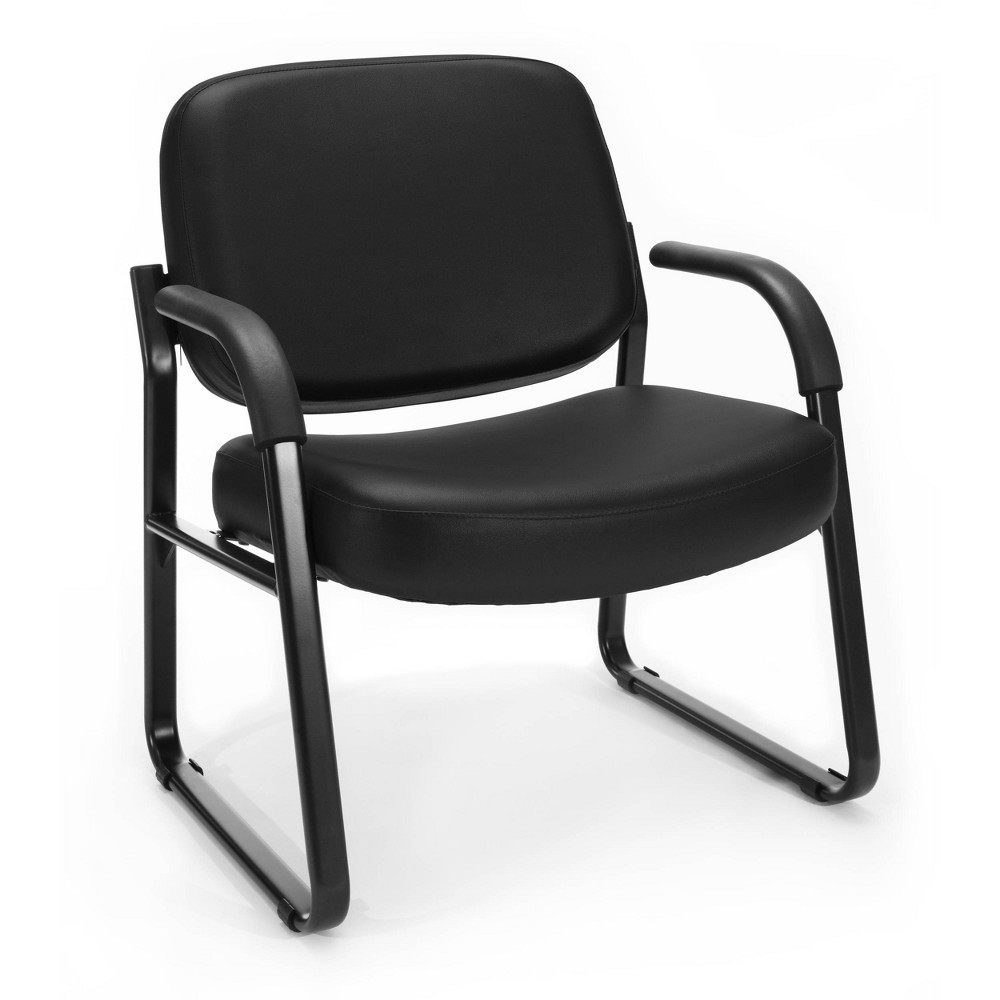 Big Tall Guest And Reception Chair With Arms Black Ofm