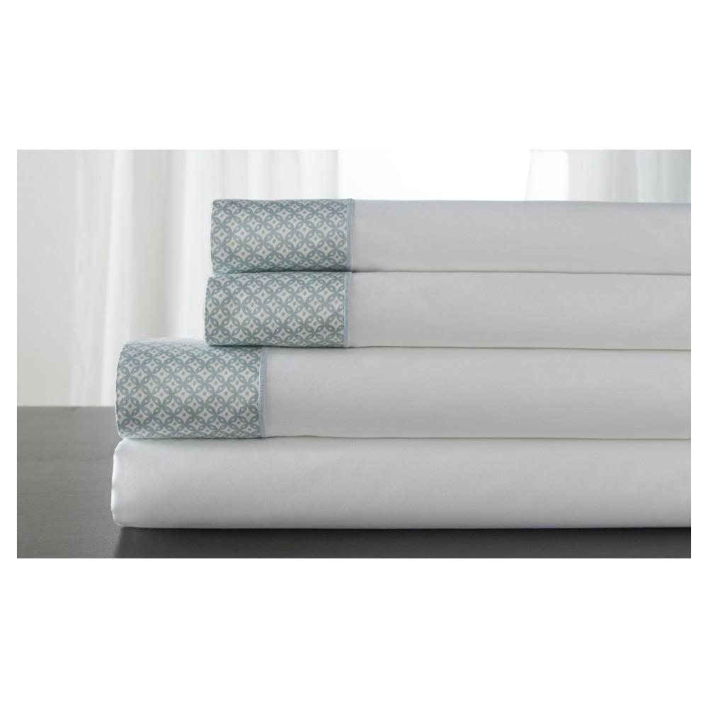 Image of Adara 100% Cotton Printed Hem 400TC Sheet Set (Full) Spa, Spa Blue