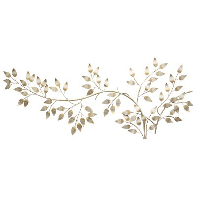 Brushed Gold Flowing Leaves Wall Decor - Stratton Home Decor