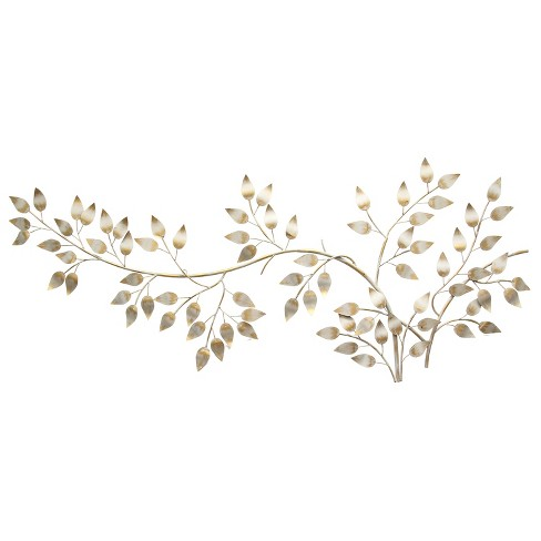 Brushed Gold Flowing Leaves Wall Decor Stratton Home