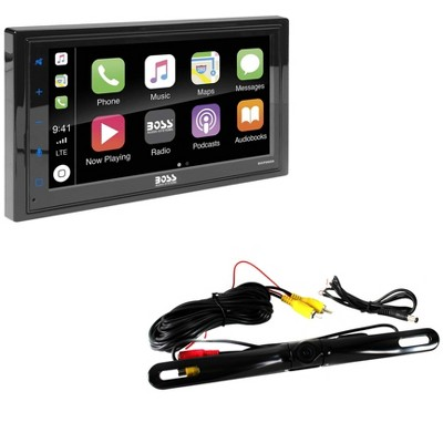BOSS Audio Double DIN Android/Apple Smartphone Bluetooth 6.5-Inch LCD Touchscreen Display Vehicle Multimedia Player and Backup Camera Accessory