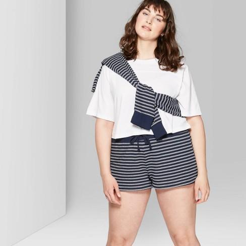 90de05a743 Women's Plus Size Striped High-Rise Terry Cloth Shorts - Wild Fable™ Blue