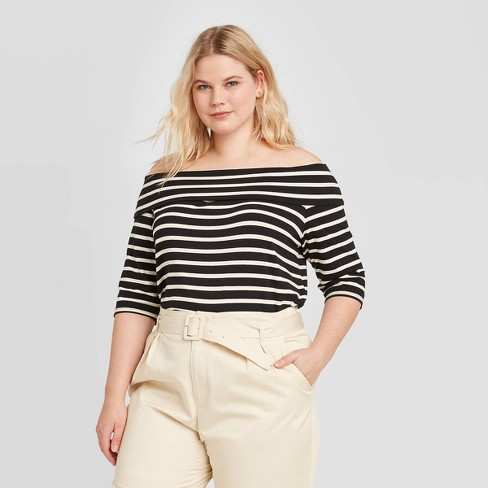 Women's Plus Size Striped Long Sleeve Bardot Blouse - Who What Wear™ - image 1 of 3