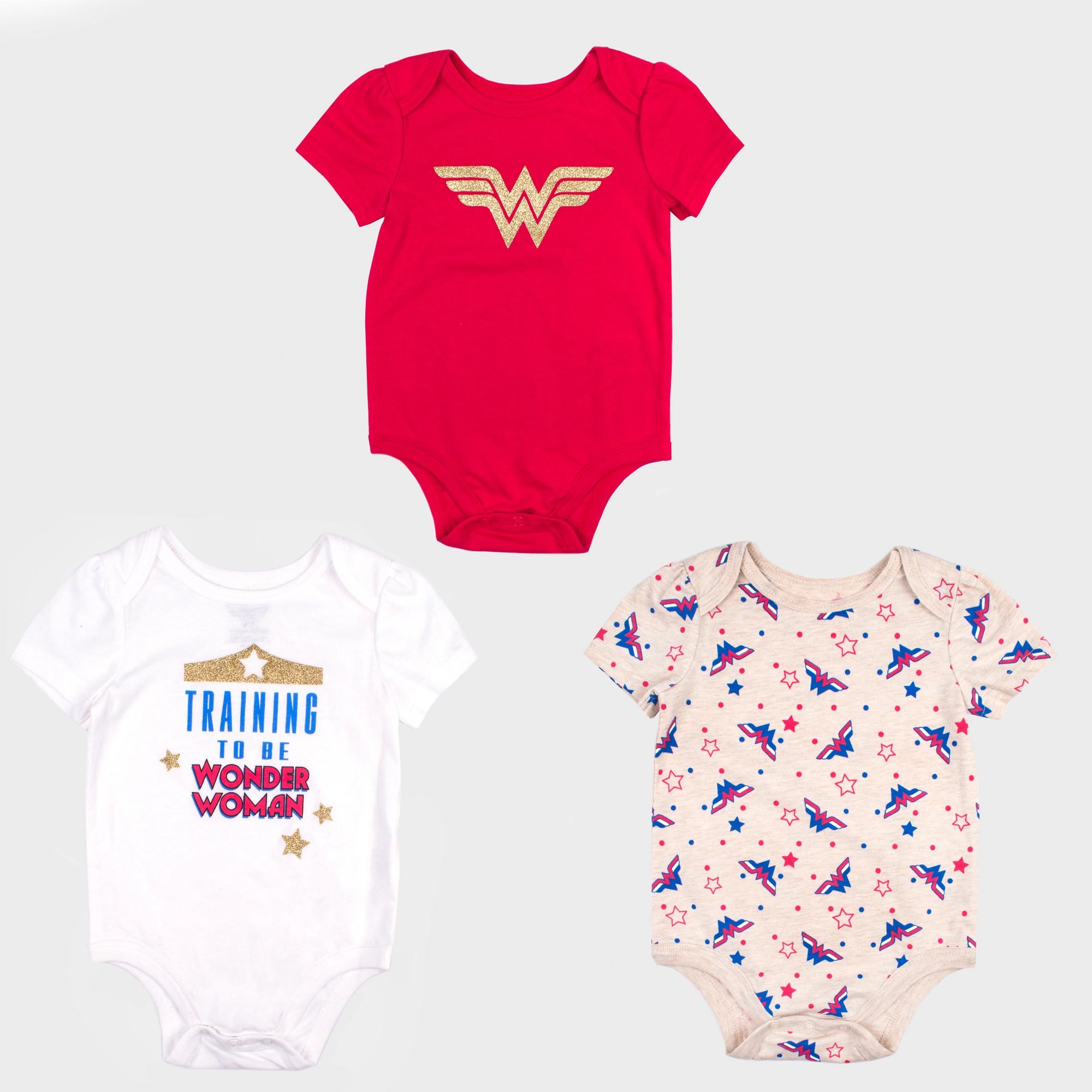 petiteBaby Girls' 3pk DC Comics Wonder Woman Short Sleeve Bodysuit Set - Red/White Newborn, Girl's