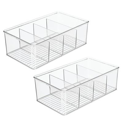 mDesign Plastic Office Storage Organizer Bin Box, 2 Pack - Clear