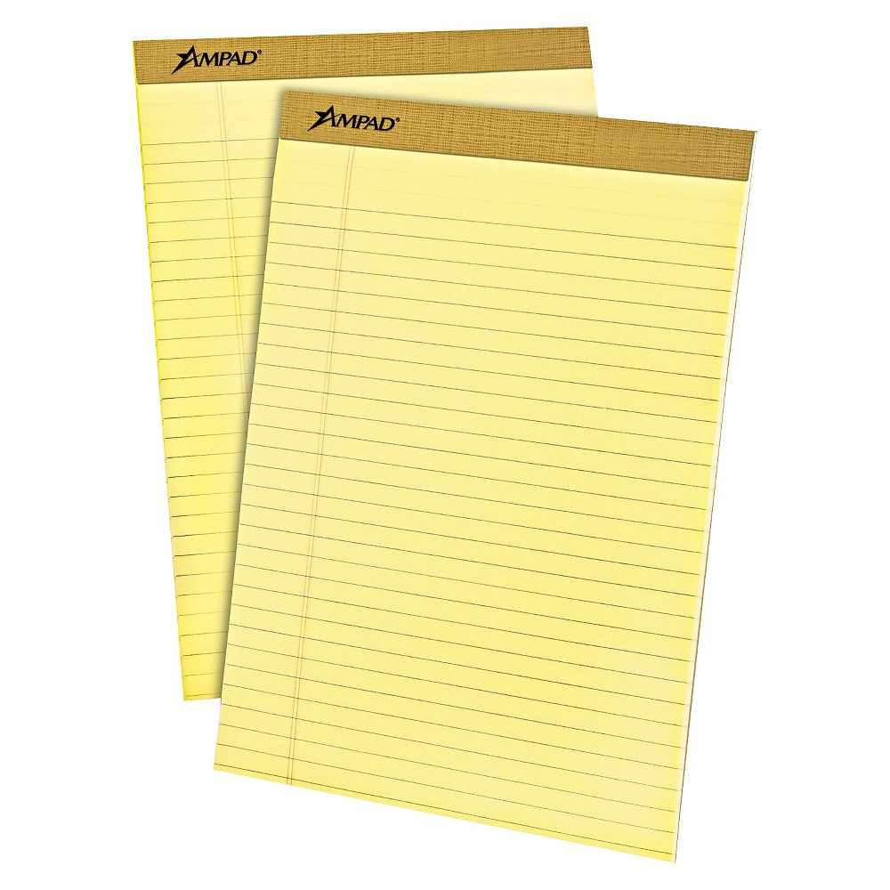 Ampad 8 1/2 x 11 3/4 Writing Pad, Legal Rule, Micro Perfed- Canary (Yellow) (50-Sheets, 12pk)