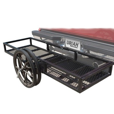 Uriah Products UH500300 2 in 1 Push Cart and Cargo Hitch Attachment Carrier Rack with Reflectors for Trailer, Truck, or Car Mount Basket Storage