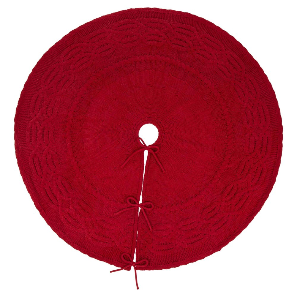 "Image of ""52"""" Knitted Polyester Christmas Tree Skirt Red - Glitzhome"""