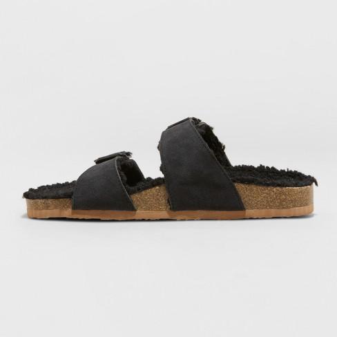 e2647fd3f40 Women s Mad Love Wide Width Kali Multi Strap Sherpa Footbed Sandals - Black  6W   Target