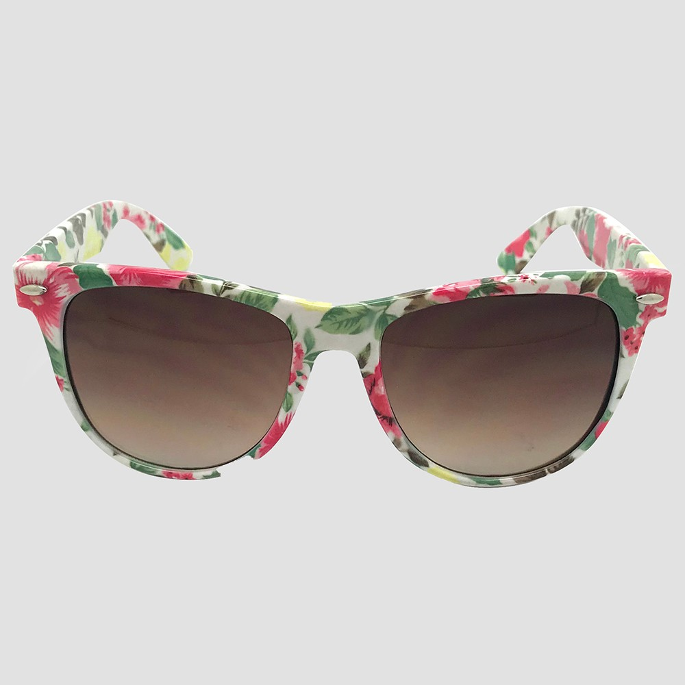 Women's Surf Shade Sunglasses with Floral Print - White