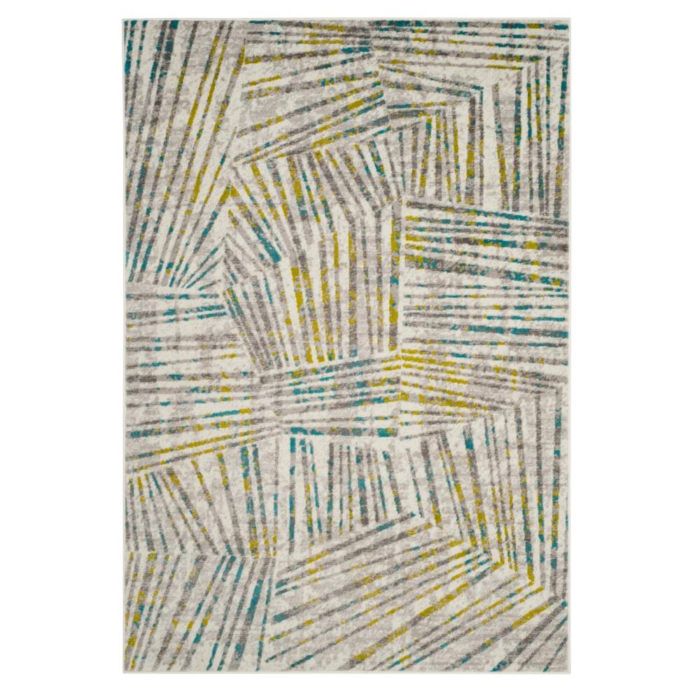 Gray/Green Thin Stripe Loomed Area Rug 5'1
