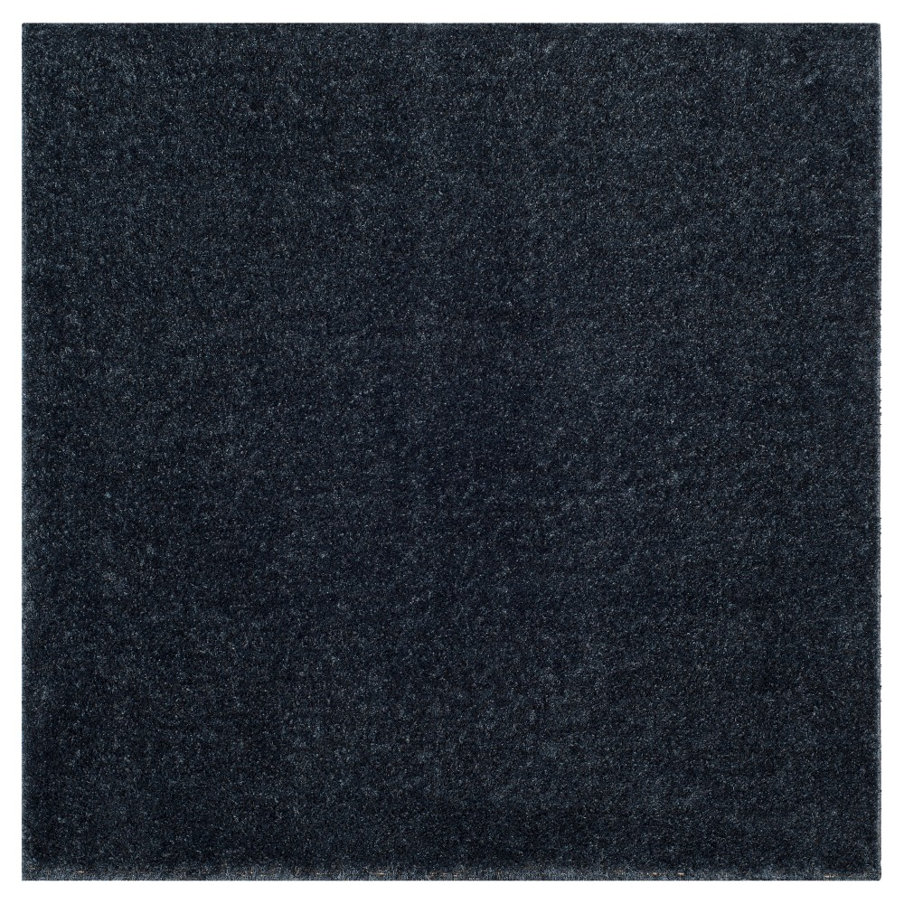 Blue Solid Loomed Square Area Rug - (6'7
