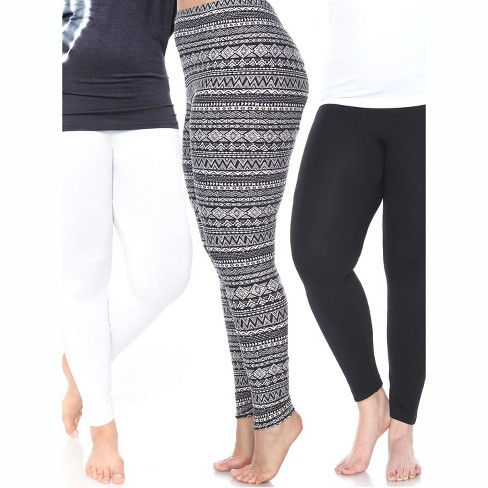 Women's Pack of 3 Plus Size Leggings - One Size Fits Most Plus - White Mark - image 1 of 1
