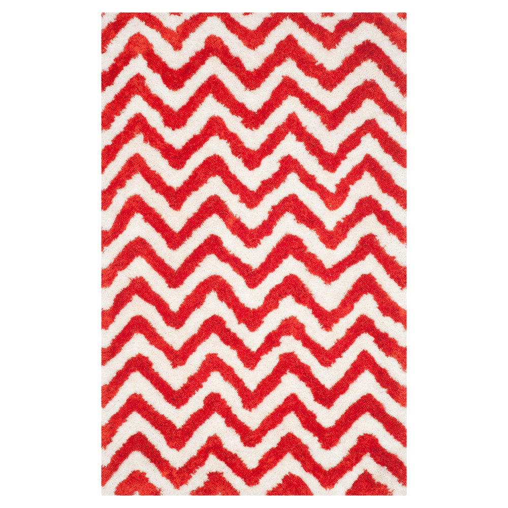 Ivory/Rust (Ivory/Red) Chevron Shag and Flokati Tufted Area Rug 5'X8' - Safavieh