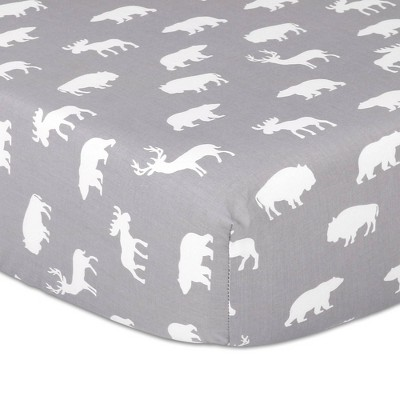 The Peanutshell Woodland Silhouette Gray Fitted Sheet