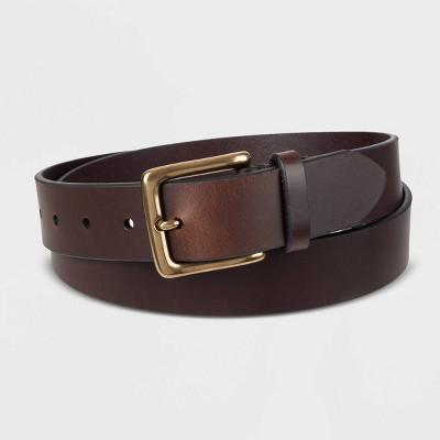 Men's 35mm Leather Brass Buckle Belt - Goodfellow & Co™ Brown