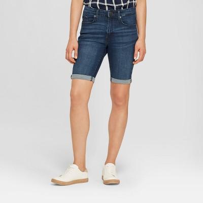 Women's High-Rise Roll Cuff Bermuda Jeans Shorts - Universal Thread™ Dark Wash 10
