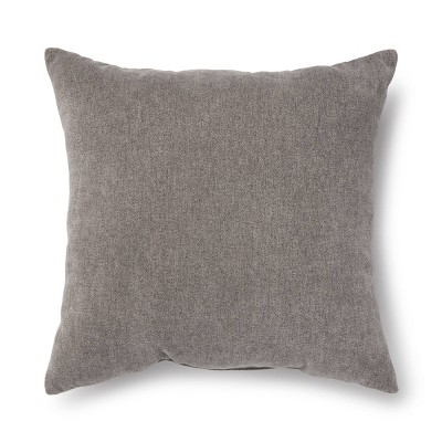 """18""""x18"""" Chenille Square Throw Pillow Gray"""