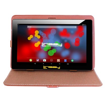 """LINSAY 10.1"""" 1280x800 IPS Tablet Bundle with Brown Leather Case 32GB"""