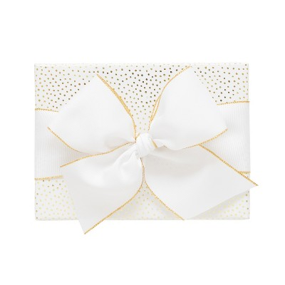 White with Gold Foil Scattered Snow Dots Gift Wrap, Single