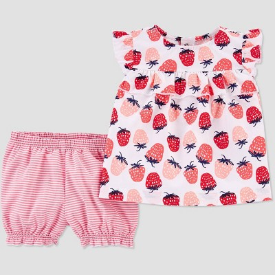 Baby Girls' 4th of July Strawberry Top and Bottom Set - Just One You® made by carter's White/Pink 9M