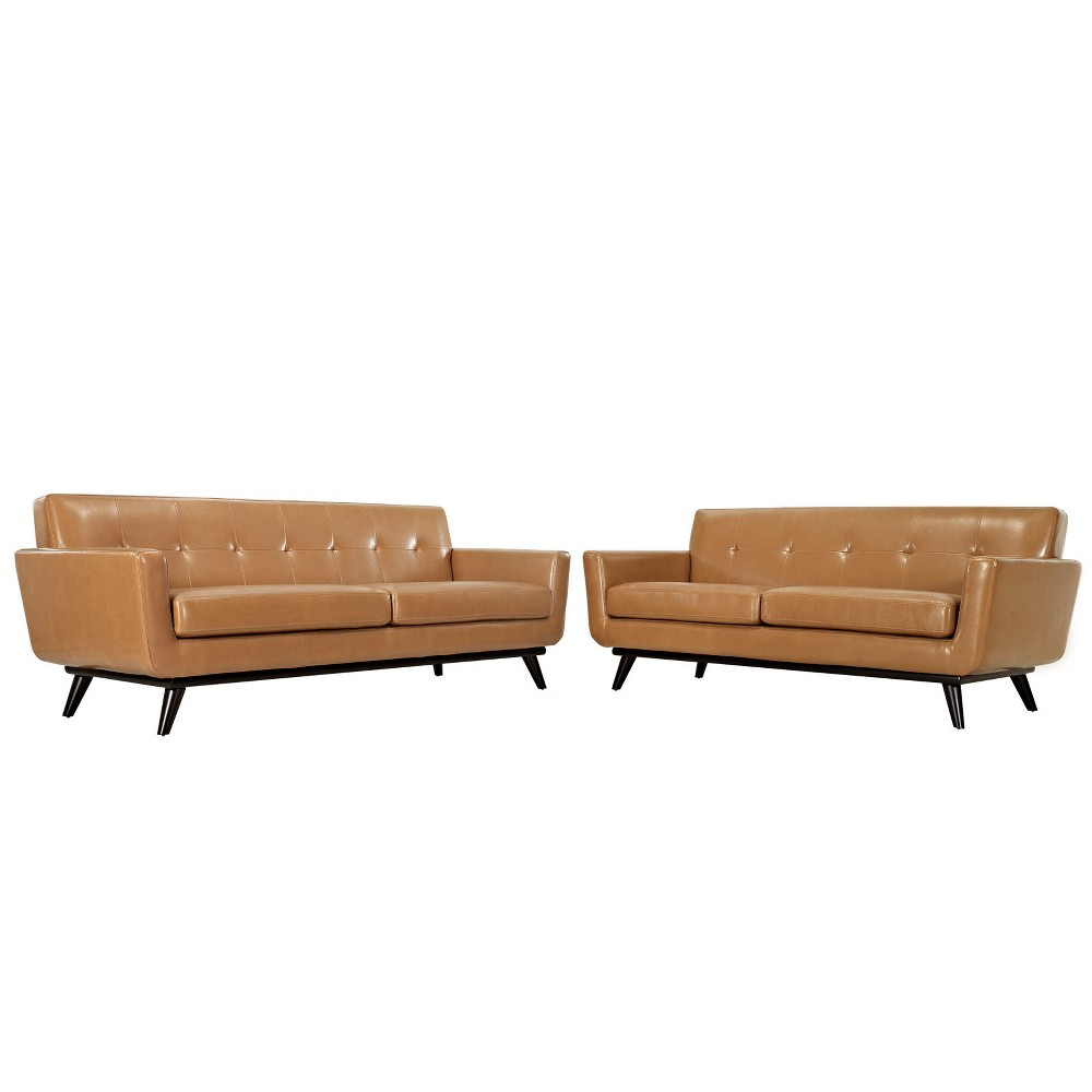 Engage 2pc Leather Living Room Set Tan - Modway
