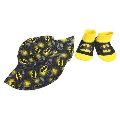 Baby Boys' Batman Swim Hat/Aqua Socks Set -Black 0-12M