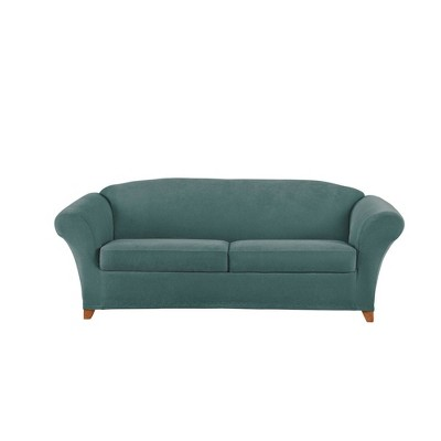 3pc Stretch Pique Sofa Slipcover Pine - Sure Fit