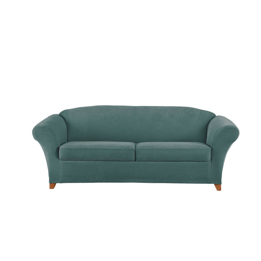 Image of 3pc Stretch Pique Sofa Slipcover Pine - Sure Fit
