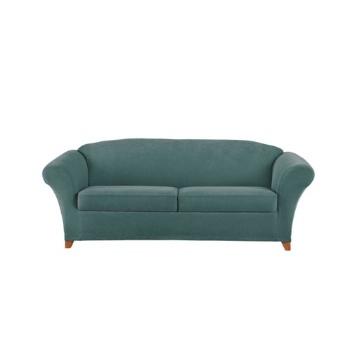 3pc Stretch Pique Sofa Slipcover - Sure Fit - image 1 of 3