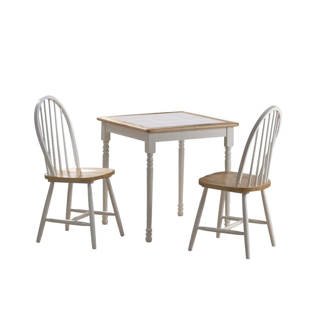 3 Piece Dining Set Wood/White/Natural - Boraam Industries